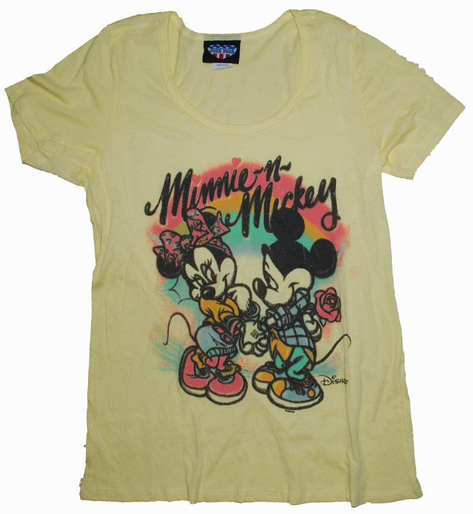 e6c37ebb Junk Food Mickey Mouse & Minnie Mouse Airbrushed Womens Tee Shirt ...