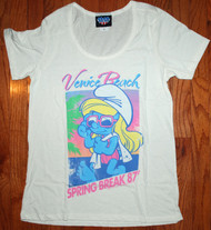 Cool Womens Junk Food Smurfs Spring Break T-Shirt