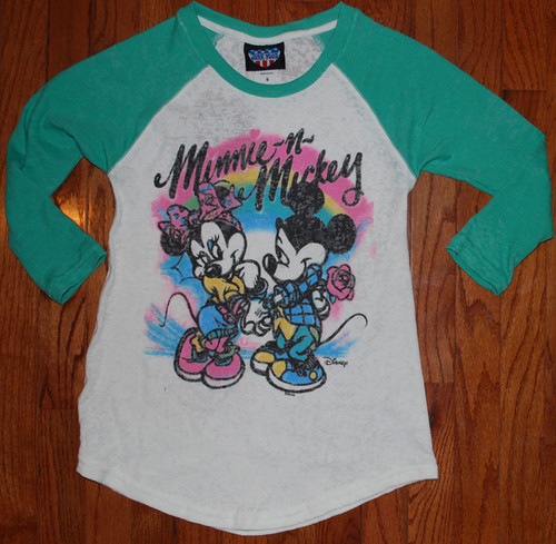 Mickey Mouse and Minnie Mouse Tri Blend Raglan Shirt by Junk Food Clothing