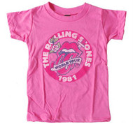 Rolling Stones 1981 World Tour Pink Kids T-Shirt by Junk Food Clothing