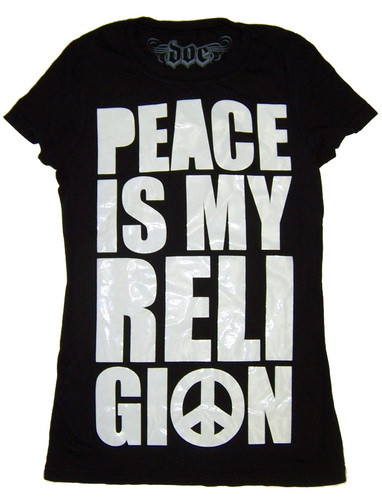 Doe Mighty Fine Peace is My Religion Vintage Style Juniors Tee Shirt