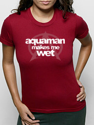 Vintage Style Aquaman Makes Me Wet Womens Tee Shirt by Crooked Monkey