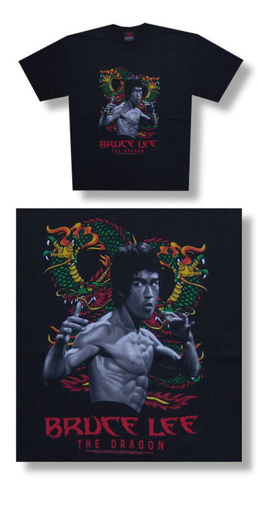 Bruce Lee The Dragon Mens Retro T-Shirt