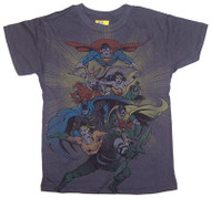 DC Comics Super Heroes Boys T-Shirt in Charcoal by Junk Food Clothing