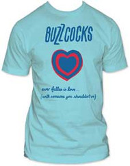 This is a cool The Buzzcocks Ever Fallen In Love Mens Tee Shirt on a blue t-shirt featuring lyrics from their famous song