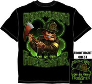 Irish Fire Fighter Shamrock Mens Tee Shirt