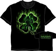 Fighting Irish Flame Shamrock Mens Tee Shirt