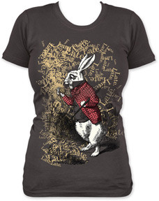 Alice in Wonderland White Rabbit Late Juniors Vintage Style Tee Shirt