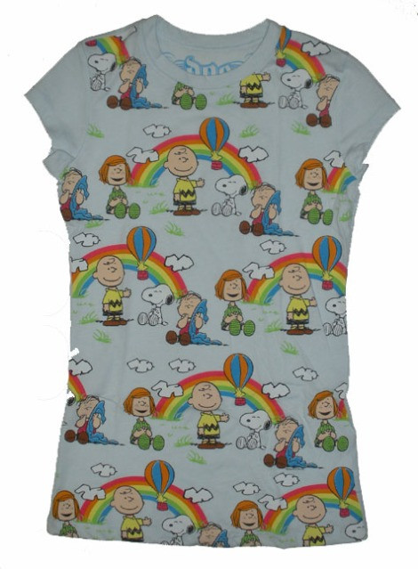 Peanuts The Gang Rainbow Vintage Juniors T-Shirt by Doe Mighty Fine