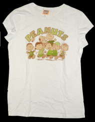 Peanuts Characters Wearing Green Vintage Style Juniors Tee Shirt