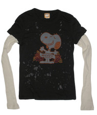 Snoopy Splatter Design Vintage Juniors 2fer Tee Shirt by Mighty Fine
