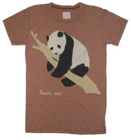 Panda Bear Save Me Vintage Girly T-Shirt in Lite Chocolate