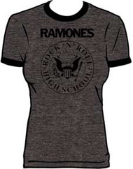 RAMONES CHARCOAL HEATHER PRESIDENTIAL SEAL JUNIORS RINGER TEE SHIRT