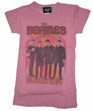 The Beatles Follow The Sun Tri-Blend Womens T-Shirt by Junk Food Clothing