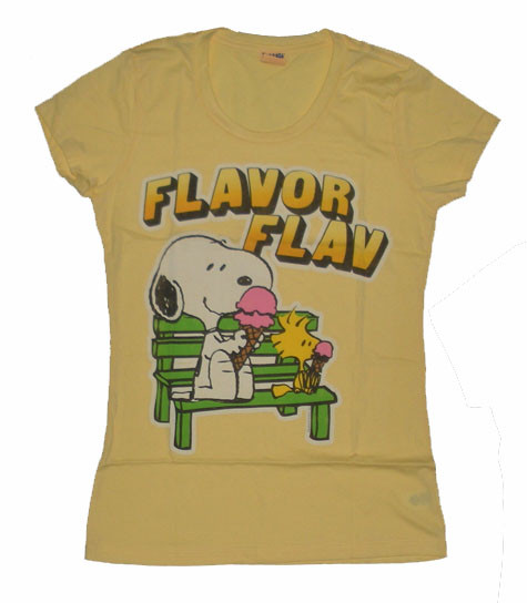 Peanuts Snoopy Flavor Flav Vintage Style Womens Tee Shirt by Mighty Fine