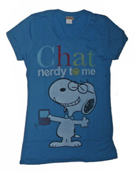 Peanuts Snoopy Chat Nerdy to Me Vintage Style Womens Tee Shirt by Mighty Fine