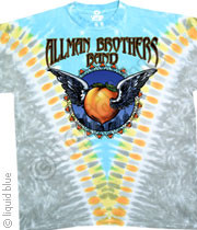 THE ALLMAN BROTHERS FLYING PEACH TIE DYE MENS TEE SHIRT