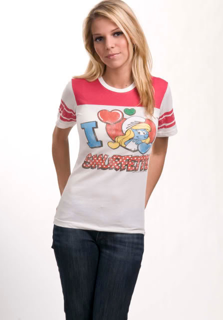 Junk Food I Heart Smurfette Womens Tee Shirt