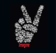 Peace Sign Imagine Mens Tee Shirt