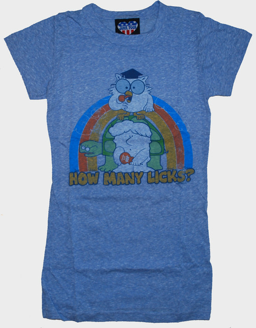 Tootsie Pop How Many Licks Womens T-Shirt by Junk Food Clothing in Pale Blue