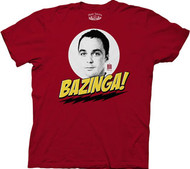 The Big Bang Theory Bazinga with Sheldon Mens Tee Shirt
