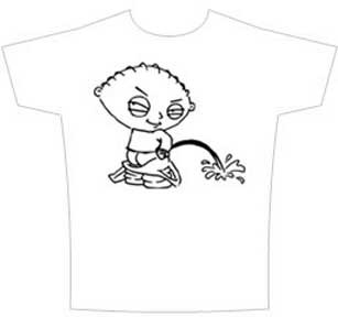 THE FAMILY GUY STEWIE TAKING A LEAK MENS TEE SHIRT