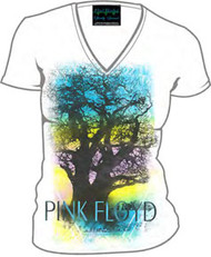 Pink Floyd Tree Juniors V-Neck Tee Shirt