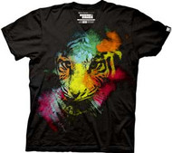 New Standard Painted Tiger Mens V-Neck Tee Shirt