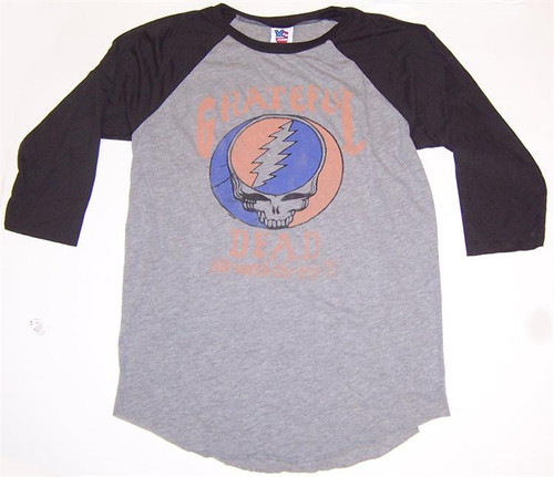 Mens Grateful Dead Steal Your Face Raglan Tee Shirt by Junk Food Clothing