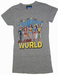It's A Girl's World Super Heroes Womens Tee Shirt by Junk Food Clothing