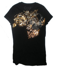 Rose and Skull Gold Foil Juniors T-Shirt