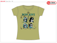 Bon Jovi Faces Womens Tee Shirt