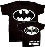BATMAN SKELETON BAT GLOW LOGO MENS ONE SIDED TEE SHIRT