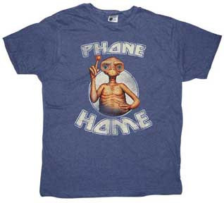 ET Phone Home Vintage Style Mens Blue Heather Tee Shirt
