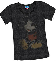 Junk Food Disney Mickey Mouse Boyfriend Womens T-Shirt in Black Wash
