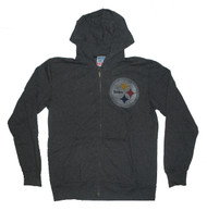 Junk Food Mens NFL Pittsburgh Steelers Vintage DIstressed Zip Up Hoodie