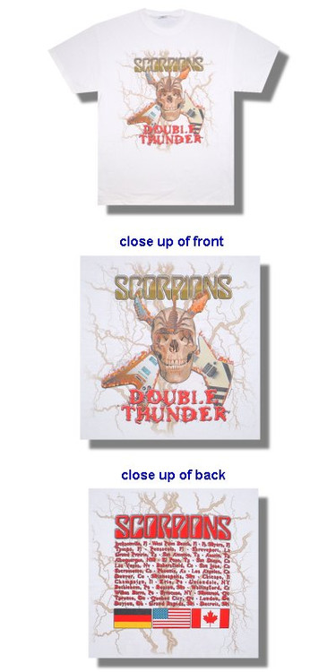 The Scorpions Guitar Double Thunder Tour Mens T Shirt