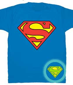 Superman Glow In The Dark Logo Mens Tee Shirt