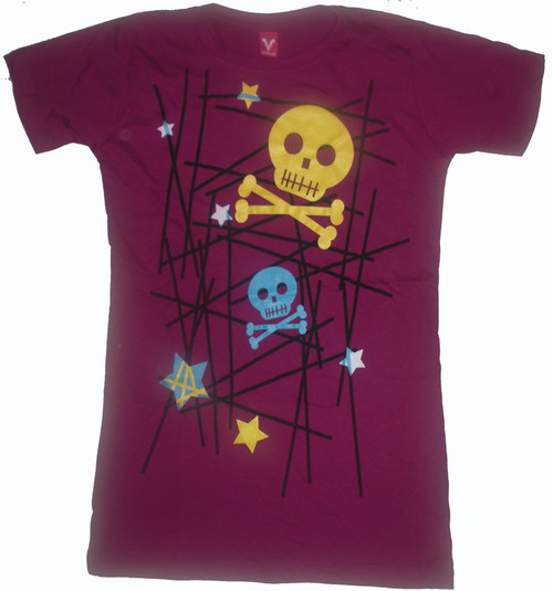 Colored Skulls on Purple Vintage Style Juniors Tee Shirt