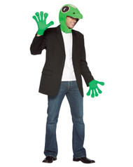 The Gecko from Geico costume includes a green gecko head with matching green gecko gloves. The gecko costume is available in one standard size that will fit most adults comfortably.