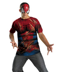 Spiderman Mens Shirt and Half Mask Costume