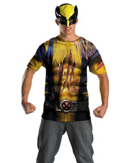 Wolverine Mens Shirt and Half Mask Costume