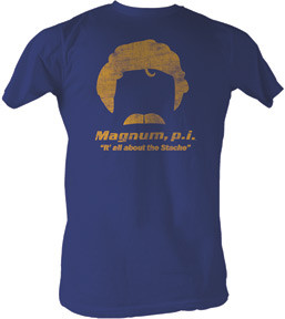 Magnum PI All About the Stache Vintage Style Heather Blue Tee Shirt