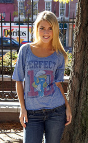 Junk Food Smurfette Perfect 10 Triblend Slouch Womens Raglan
