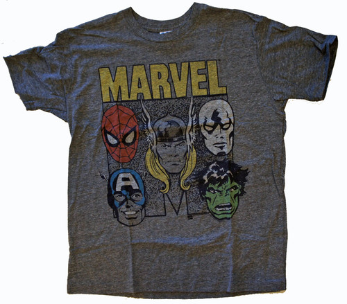 Mens Marvel Faces Tri Blend Tee Shirt by Junk Food Clothing