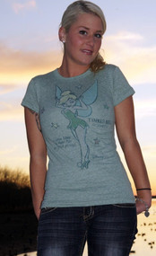 Disney Tinkerbell Tri Blend Womens Tee Shirt by Junk Food Clothing