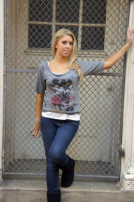 Disney Mickey Mouse and Minnie Tri Blend Slouch Raglan Womens Shirt in Gray by Junk Food Clothing