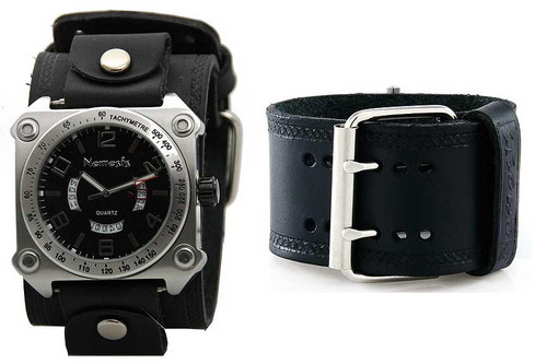 Nemesis Black Sports Date Dial Cuff Watch