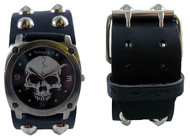 Nemesis Studded Leather Skull Cuff Watch