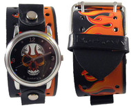Nemesis Tribal Skull Flames Cuff Watch